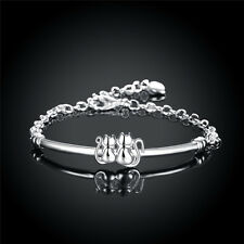 925 Sterling Silver Plated Double Cats Bracelet Women Jewellery Chain Gift Party