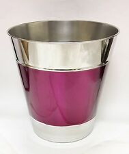 New Silver Metal+Magenta Round Trash Can,Waste Basket- Handcrafted In India
