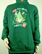 Hanes Ugly Naughty Christmas Sweater Hoodie Pull over Green Sweatshirt 3XL