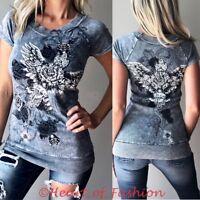 **VOCAL Womens Vintage Distressed Gray Embellished Cross Graphic Biker Top Shirt
