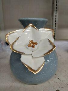 Anthropologie Flower Vase Ceramic Speckled Blue 3D Ceramic White Gold Flower