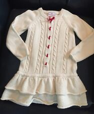 New Hanna Andersson Girls Ivory Knit Dress Santa Lucia sz 100 (4US)