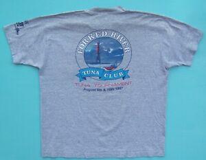 VTG 1997 FORKED RIVER TUNA CLUB POCKET T SHIRT XL YACHT MILLER LITE FISHING SEA