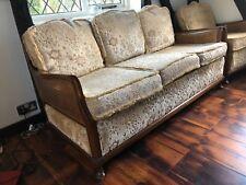 Vintage 3 piece sofa, Rattan sides and backs, wooden framed