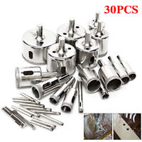 30Pcs Diamond Hole Saw Drill Bit Set Cutting Tool For Tile Marble Glass 6mm-50mm