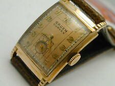 1940S GRUEN CURVEX IN PINK GOLD FILLED  CASE A STRONG RUNNER 37 BY 22 MM