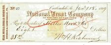 New listing 1869 Elk Hill Coal Co. Dickson City Pa - Cancelled National Trust Co Bank Check