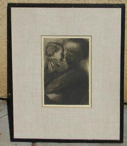 Kathe Kollwitz Original Restrike Etching Mother Holding Child in Her Arms