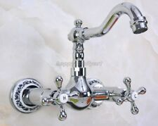 Polished Chromed Brass Bathroom Kitchen Basin Wall Mounted Mixer Faucet ynf967