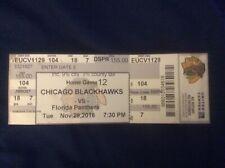 Chicago Blackhawks vs Florida Panthers Ticket Stub, 11/29/16