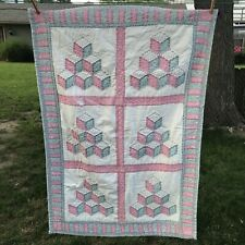 Vintage Hand Stitched Hand Made Baby Quilt Square Patchwork 49x34 Pink Blue Worn