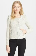 IRO 'Agnette' Distressed Tweed Jacket in Ecru Gray FR 42 / 12 L
