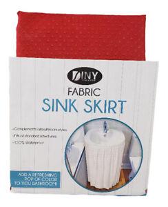 Fabric Sink Skirt Bathroom Decor  100% Waterproof Self Stick Red