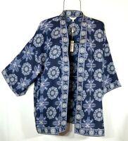 New ~ Max Studio Navy Geo Print Kimono Duster Peasant Blouse Boho Top L NWT