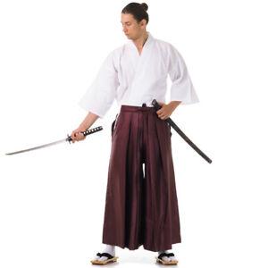 Japanese Samurai Kendo Gi Hakama Set Bushi Aikido Men Kimono Cosplay Costume