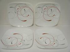 """Corelle® Splendor Square 10.5"""" Dinner Plates Four Red & Light Gray Tendrils New"""
