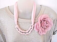 Pink Fabric Necklace and Rose Brooch/ Hairclip