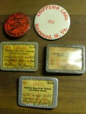 Vintage West Virginia Fishing License Lot & Pinback Buttons