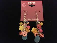 *NWT* CLAIRE'S Plastic Novelty Multi-Color Charm Dangle / Drop Earrings