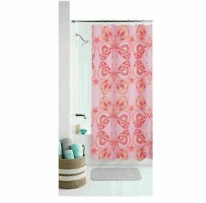 """NEW Mainstays Girl Kids Coral Pink Boho Butterfly Fabric Shower Curtain 70""""x72"""""""