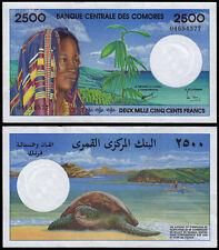COMOROS 2500 FRANCS (P13) N. D. (1997) AU/UNC