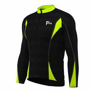 Mens Cycling Jersey Long Sleeves Thermal Winter Biking Jacket Bicycle Hi-Viz Top