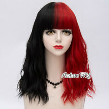 Short Curly Cosplay Wig Princess Hair Lolita Lady Black Mixed Red 45cm Party Wig