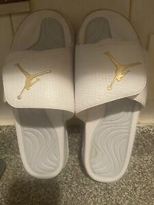 Nike Jordan 5 V Retro Hydro Slides White/Gold And Grey Size  12 Solarsoft