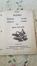 Ford Plows Master Parts Book 1965. Moldboard, Two Way, Shear Bolt, Economy, Disc