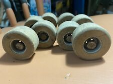 Set Of 8 Vintage Wooden Skate Wheels 4 Axles With Nuts