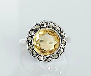 Vintage Sterling Silver Citrine & Marcasite Cluster Engagement Ring UK Size L