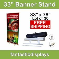 """33"""" inch Retractable Roll Up Banner Stands 30 Pcs Hardware Only Wholesale Lot"""
