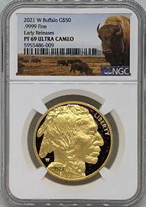 2021 W 1 oz Gold Buffalo Proof $50 NGC PF69 UC Early Releases Buffalo Label