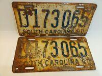 Pair of 1960 South Carolina license plate Vintage Rustic Unrestored D173065