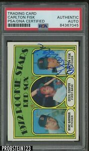 Carlton Fisk HOF Signed 1972 Topps #79 Red Sox Rookie Stars RC AUTO PSA/DNA