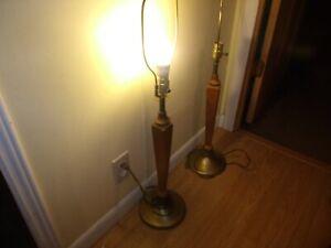 2 Beautful Mid Century Wood Table Lamp Danish Modern Nice Shape Vintage Modern