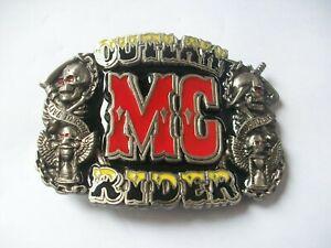 OUTLAW MC RIDER VINTAGE HEAVY  BELT BUCKLE. 1991 HARLEY BIKER. 1%er