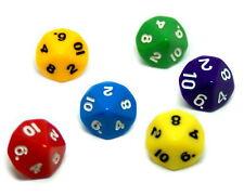 10-Seitige Würfel im 6er Pack Farbmix mit schwarzen Zahlen/ weißen Zahlen 1-10