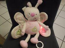 318/ doudou peluche musical lumineux papillon Lisa blanc rose SAUTHON 30cm