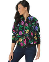 Susan Graver Womens Printed Peachskin Bomber Jacket Large Black A351018
