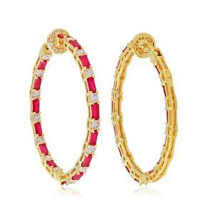 14k Yellow Gold Ruby Hoop Earrings SI Clarity HI Color Diamond Fine Jewelry