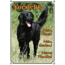 Top Warning Sign Black Hovawart - Dog Sign - Metal Door Wetterbest