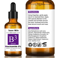 NIACINAMIDE VITAMIN B3 SERUM HYALURONIC ACID ANTI AGING WRINKLES BRIGHTENING USA