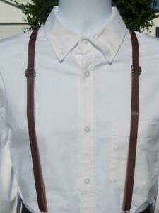 Skinny Leather Suspenders - Brown Faux Leather Suspenders - Ages 8-Adult