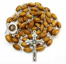 Hand Made Olive Wood Rosary With Holy Soil From Jerusalem,Free Gift Box& Booklet