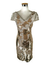 Portmans Cocktail Dress - Two-Way Sequin Gold Cream Cap Sleeves Club Mini - 4/6