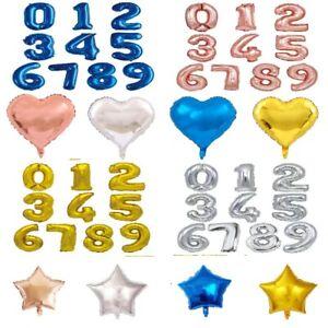 "16"" Number Foil Balloons Star Heart Balloon Birthday Party Wedding Anniversary"