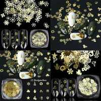 Snowflake Sequins Metal Slices Gold Glitter Decor 3D Christmas Nail Art Stickers