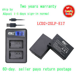 LCD2 USB Charger+2xBattery for LP-E17 LCE17 Canon EOS 750D 760D 8000D M3 Rebel