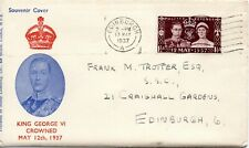 1937 Sg 461 1½d, Maroon Coronation First Day Souvenir Cover Open at top